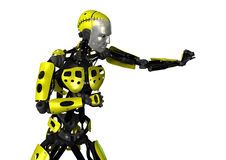 3D Rendering Robot on White Stock Photography