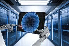 Robot working with bitcoin stock illustration