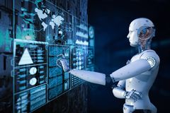 Robot with digital display. 3d rendering robot working with digital display stock illustration