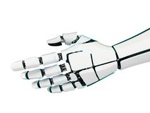 3D rendering robotic hand on a white background. 3D rendering robotic hand isolated on white background Stock Image