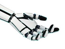 3D rendering robotic hand on a white background. 3D rendering robotic hand isolated on white background Royalty Free Stock Image