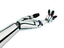 3D rendering robotic hand on a white background. 3D rendering robotic hand isolated on white background Royalty Free Stock Photo