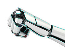 3D rendering robotic hand on a white background. 3D rendering robotic hand isolated on white background Stock Photo