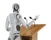 Robotic public speaker. 3d rendering robotic public speaker speaking on podium Stock Photos