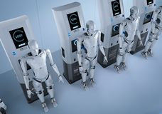 Robots charge at station. 3d rendering robots charge with electric charging station royalty free illustration