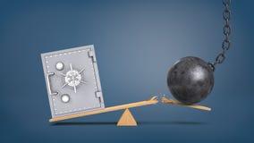 3d rendering rocznik skrytki pudełka wielcy stojaki przy drewnianym seesaw nadważy rujnuje piłkę która łama deskę Obrazy Royalty Free