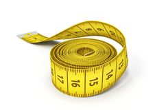 3d rendering of a roll of a yellow measuring tape on a white background. Measurement convention. Dressmaking and tailoring stock illustration