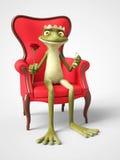 3D rendering of romantic cartoon frog prince proposing. Royalty Free Stock Photos
