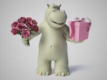 3D rendering of romantic cartoon hippo. Stock Photography