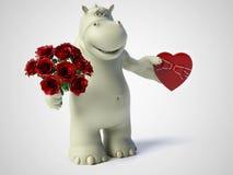 3D rendering of romantic cartoon hippo. Stock Photos