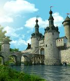 Romantic Fantasy Castle Protected by a Moat. 3D rendering of a romantic fairytale castle in an idyllic landscape framed by trees and protected by a moat filled royalty free stock image