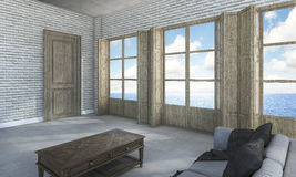 3d rendering room in villa near the sea Stock Photos