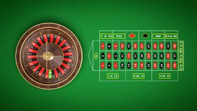3d rendering of a roulette placed on an endless green surface with a classic betting grid. Betting squares. Winning money. Losing at gambling Stock Photo