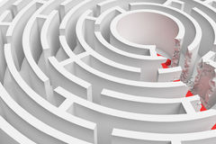 3d rendering of a round maze with a red arrow borrowing to the center in closeup view. Royalty Free Stock Image