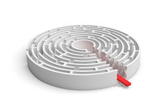 3d rendering of a round maze with a red arrow borrowing to the center isolated on white background. Mazes and labyrinths. Problems and solutions. Unexpected Stock Image