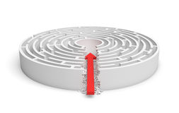 3d rendering of a round maze with a red arrow borrowing to the center isolated on white background. Mazes and labyrinths. Problems and solutions. Unexpected Royalty Free Stock Image
