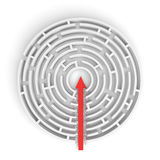 3d rendering of a round maze with a red arrow borrowing to the center isolated on white background. Mazes and labyrinths. Problems and solutions. Unexpected Royalty Free Stock Photos
