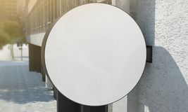 Rounded signboard. 3d rendering of a rounded signboard on a wall royalty free stock photo