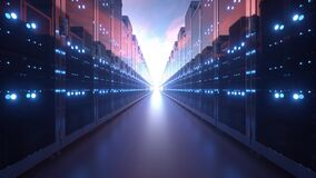 3d rendering of rows of network servers machine farm cloud computing hardware on blue sky background