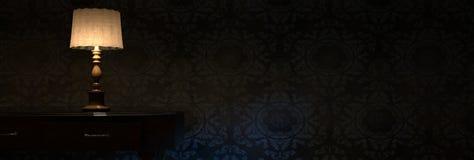 3d rendering rozjaśnia wezgłowie lampę przed grunge ścianą Obrazy Stock
