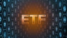 3D rendering Rozjarzony tekst z bitcoin i crypto walutą ukuwa nazwę tło SEC zatwierdza ETF fundusz opóźnia decyzję royalty ilustracja