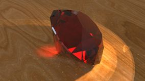 Ruby on wooden surface, 3d rendering vector illustration
