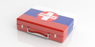 3d rendering Russia flag first aid kit on white background Stock Photography