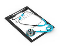 3d rendering of rx prescription and stethoscope over white Stock Photos