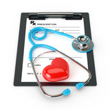 3d rendering of rx prescription and stethoscope over white Stock Images