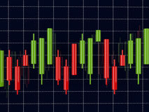 3d rendering rynku walutowego wskaźnika candlestick mapa nad zmrokiem ilustracji