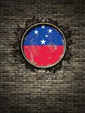 Old Samoa flag in brick wall. 3d rendering of a Samoa national flag over a rusty metallic plate embedded on an old brick wall Royalty Free Stock Images