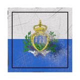 Old San Marino flag. 3d rendering of a San Marino country flag on a rusty surface stock illustration
