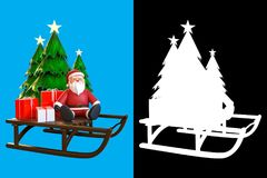 3d rendering of Santa Claus sitting on a sleigh with gift boxes. And Christmas tree,  on blue sky background with alpha channel section for split background by Stock Photos