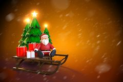 3d rendering of Santa Claus sitting on a sleigh with gift boxes. And Christmas tree with starlight on top on a dark gold background with snowfall Stock Images