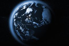 Satellite orbiting the earth. 3D rendering of a satellite orbiting the earth Stock Images