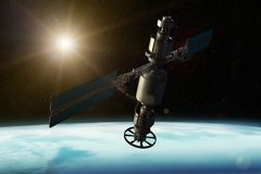A satellite orbiting the earth. 3D rendering of a satellite orbiting the earth vector illustration