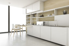 3d rendering scandinavian kitchen with minimal style. 3d rendering interior design by 3ds max Royalty Free Stock Photography