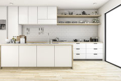 3d rendering scandinavian kitchen with white tone design. 3d rendering interior design by 3ds max Royalty Free Stock Photo