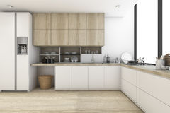 3d rendering scandinavian kitchen with white wood design. 3d rendering interior design by 3ds max Royalty Free Stock Photo