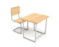 3d rendering of a school desk and chair both are made of iron and light wood  on white background. Stock Image
