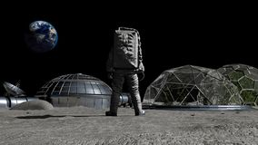 3D rendering. Sci-fi scene. The colony of the future on the moon. Astronaut walking on the moon. CG Animation. Elements of this. Image furnished by NASA stock illustration