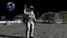 3D rendering. Sci-fi scene. The colony of the future on the moon. Astronaut walking on the moon. CG Animation. Elements of this. Image furnished by NASA vector illustration