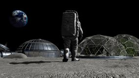 3D rendering. Sci-fi scene. The colony of the future on the moon. Astronaut walking on the moon. CG Animation. Elements of this. Image furnished by NASA royalty free illustration
