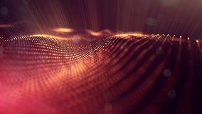 3d rendering, science fiction background of glowing particles with depth of field and bokeh. Particles form line and. Surface grid. microcosm or space Royalty Free Stock Images