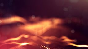 3d rendering, science fiction background of glowing particles with depth of field and bokeh. Particles form line and. Surface grid. microcosm or space Royalty Free Stock Photography