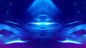 3d rendering, science fiction background of glowing particles with depth of field and bokeh. Particles form line and. Surface grid. microcosm or space vector illustration