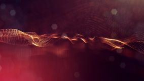 3d rendering, science fiction background of glowing particles with depth of field and bokeh. Particles form line and. Surface grid. microcosm or space Royalty Free Stock Image