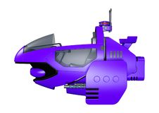 3D Rendering Science Fiction Flying Bike on White. 3D rendering of a science fiction futuristic flying bike isolated on white background vector illustration