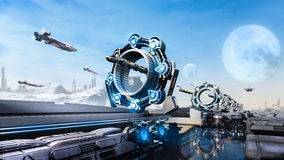 3d rendering Scifi fantasy concept cityscape and transport in the future Royalty Free Stock Images