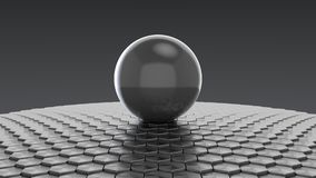 3d rendering of scifi sphere. Big white glass sphere with transparent glares and highlights on gray background. Black pearl.gradients, effects. Abstract texture Royalty Free Stock Photos
